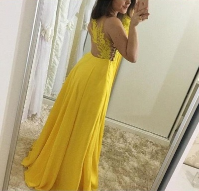 Yellow Chiffon Prom Dresses Long Cheap With Lace Sheath Dresses Formal Dresses_3