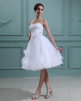 Schlicht Brautkleider Kurz Weiß Mit Spitze Organza Brautmoden Hochzeitskleider_2