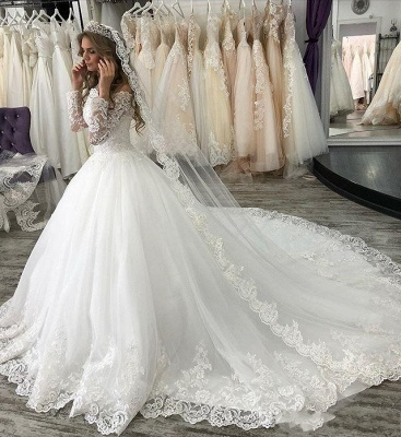 Fashion wedding dresses with sleeves | Lace bridal wear online_2