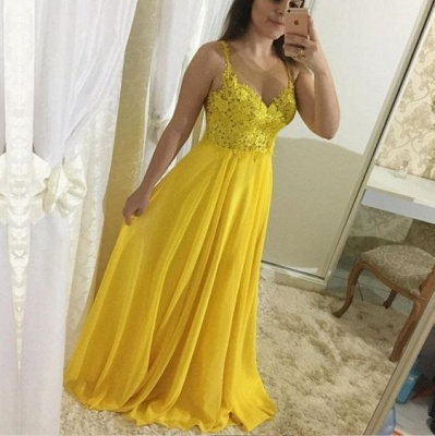 Yellow Chiffon Prom Dresses Long Cheap With Lace Sheath Dresses Formal Dresses_2