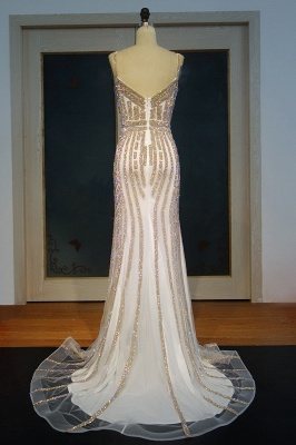 Buy elegant evening dresses long white crystal prom dresses evening wear_2
