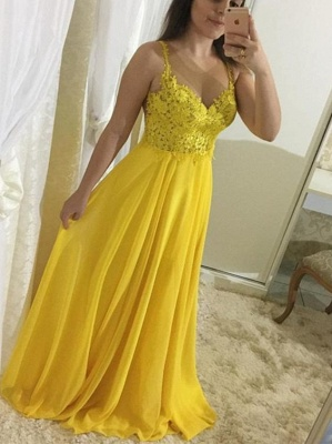 Yellow Chiffon Prom Dresses Long Cheap With Lace Sheath Dresses Formal Dresses_1