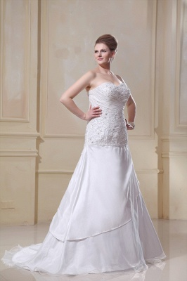 Weiß Hochzeitskleider Große Größe Meerjungfrau Satin Übergröße Brautkleider Nach Mäßig_3