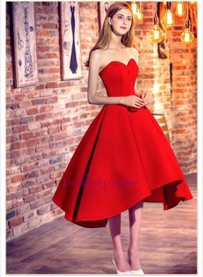 Rote Cocktailkleider Kurz Satin A Line Herz Ausschnitte Knielange Abendkleider Abendmode_1