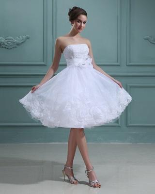 Schlicht Brautkleider Kurz Weiß Mit Spitze Organza Brautmoden Hochzeitskleider_5