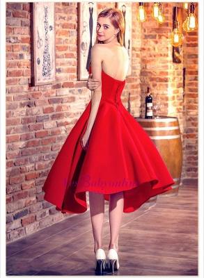 Rote Cocktailkleider Kurz Satin A Line Herz Ausschnitte Knielange Abendkleider Abendmode_2