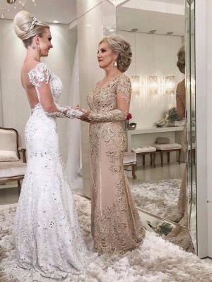 Golden Brautmutterkleider Spitze Mit Ärmel Günstig Abendkleider für Hochzeit Online_1