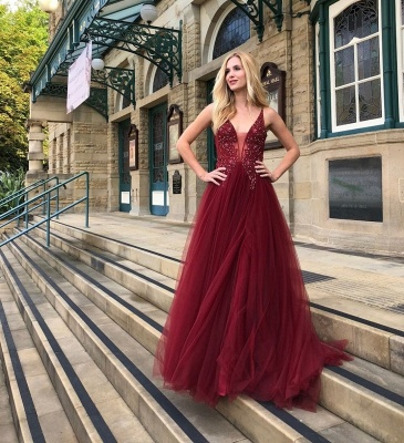 Elegante Abendkleider Lang Rot | Tüll Abendkleid Abiballkleider Online_2