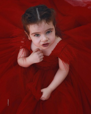 Wine red flower girl dresses princess tulle flower girl dresses cheap online_3