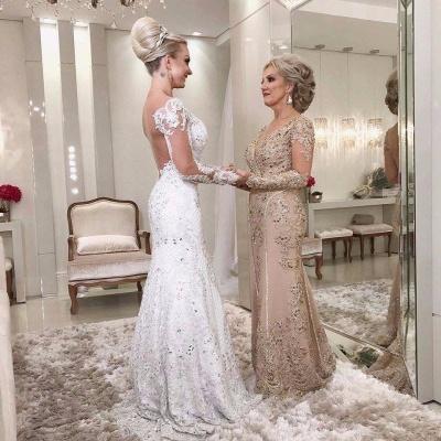 Golden Brautmutterkleider Spitze Mit Ärmel Günstig Abendkleider für Hochzeit Online_2
