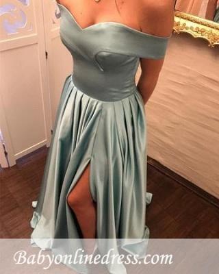 Blau Abendkleider Lang Günstig Schulterfrei Abiballkleider Online_2