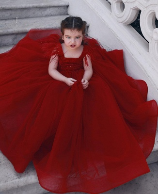 Wine red flower girl dresses princess tulle flower girl dresses cheap online_1