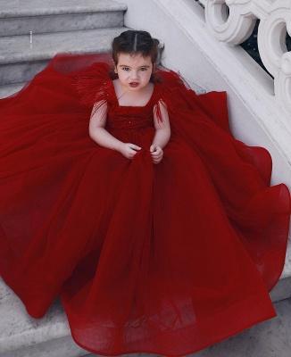 Weinrot Blumenmädchenkleider Prinzessin Tüll Kleider Für Blumenmädchen Günstig Online_1