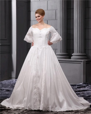 Long Sleeves Wedding Dresses Large Size With Lace A line Taffeta Plus Size Wedding Dresses_5
