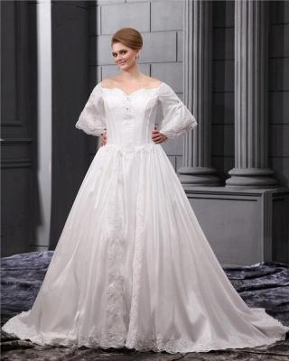 Lange Ärmel Brautkleider Große Größe Mit Spitze A linie Taft Übergröße Hochzeitskleider_5