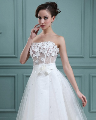 Wedding Dresses Cream Short With Lace A Line Tulle Bridal Wedding Dresses Mini_4
