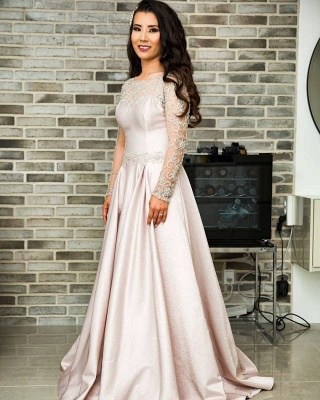 Fashion evening dresses long pink | Evening wear with lace sleeves_3