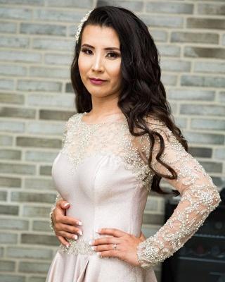 Fashion Abendkleider Lang Rosa | Abendmoden mit Spitze Ärmel_2