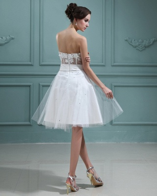 Wedding Dresses Cream Short With Lace A Line Tulle Bridal Wedding Dresses Mini_2