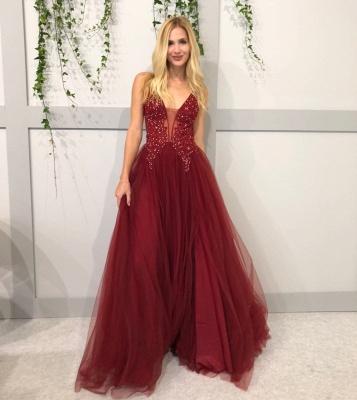 Elegante Abendkleider Lang Rot | Tüll Abendkleid Abiballkleider Online_1