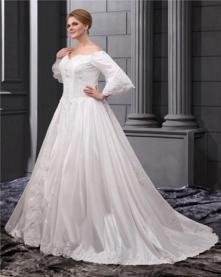 Long Sleeves Wedding Dresses Large Size With Lace A line Taffeta Plus Size Wedding Dresses_4