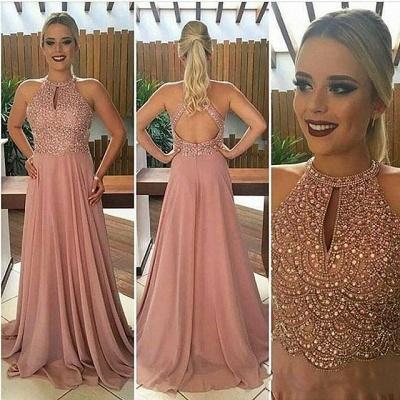Elegante Abendkleider Lang Rosa Perlen Chiffon Abendmoden Abiballkleider_3