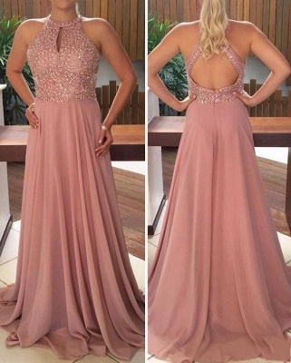 Elegante Abendkleider Lang Rosa Perlen Chiffon Abendmoden Abiballkleider_2