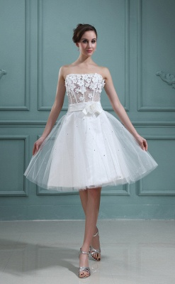 Wedding Dresses Cream Short With Lace A Line Tulle Bridal Wedding Dresses Mini_1