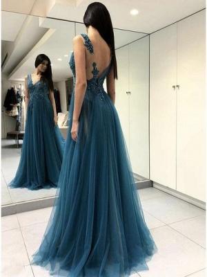 Dunkel Blau Lange Abendkleider Günstig Etuikleid Tülle Abiballkleider Online_2