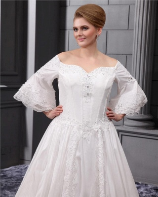 Long Sleeves Wedding Dresses Large Size With Lace A line Taffeta Plus Size Wedding Dresses_2