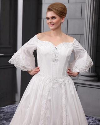Lange Ärmel Brautkleider Große Größe Mit Spitze A linie Taft Übergröße Hochzeitskleider_2