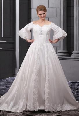 Lange Ärmel Brautkleider Große Größe Mit Spitze A linie Taft Übergröße Hochzeitskleider_1