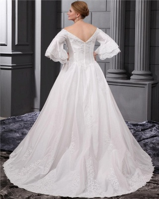Long Sleeves Wedding Dresses Large Size With Lace A line Taffeta Plus Size Wedding Dresses_3