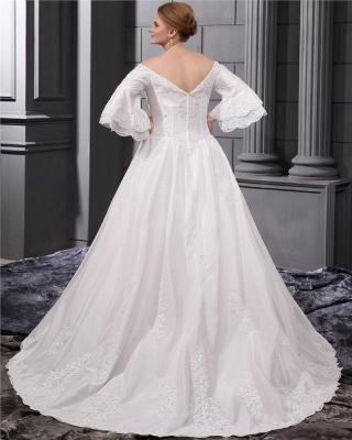 Lange Ärmel Brautkleider Große Größe Mit Spitze A linie Taft Übergröße Hochzeitskleider_3