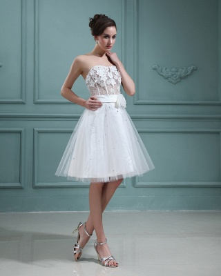 Wedding Dresses Cream Short With Lace A Line Tulle Bridal Wedding Dresses Mini_3