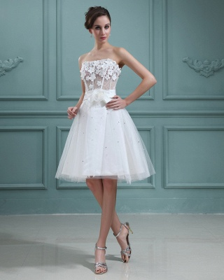 Wedding Dresses Cream Short With Lace A Line Tulle Bridal Wedding Dresses Mini_5