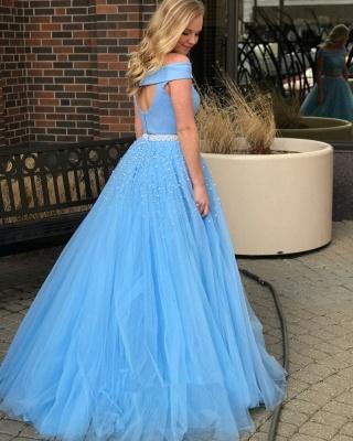 Formal Blaues Abendkleid Lang Günstig 2 Teilige Bodenlange Abiballkleider Abendmoden_2