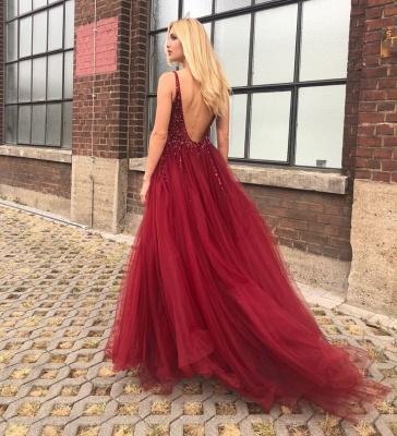 Elegante Abendkleider Lang Rot | Tüll Abendkleid Abiballkleider Online_3