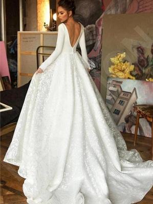 Schlichte Brautkleider mit Ärmel | Spitze Hochzeitskleider Günstig_3