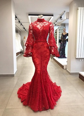 Elegant evening dresses red lace | Prom dresses long with sleeves_1