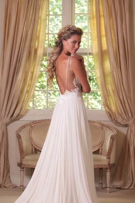 Cheap Wedding Dresses Beach Chiffon With Lace Straps Backless Floor Length Bridal Wedding Dresses_2