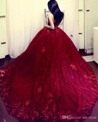 Rote Abendkleider Lang Mit Spitze Tüll Prinzessin Abendmoden Online_3