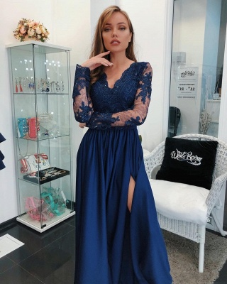 Dark Blue Evening Dresses Long Cheap Lace Evening Wear With Sleeves_2