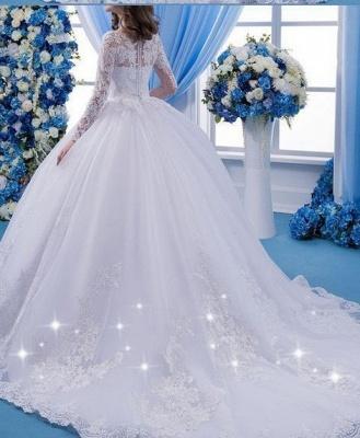 Designer Weiße Hochzeitskleider Mit Ärmel Spitze Brautkleider Online_2