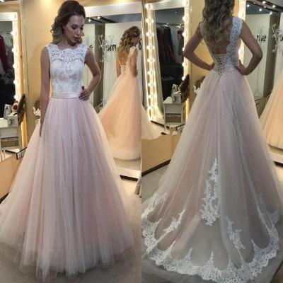 Rosa Hochzeitskleider mit Spitze Günstig Brautkleider Online_2