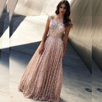 Elegant evening dress long pink | Evening dresses with glitter_2