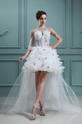 Design white wedding dresses short orgnazza tulle wedding gowns with train_1