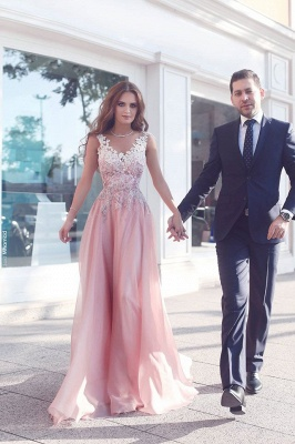 Pink prom dresses long with lace sheath dresses evening wear cheap_1