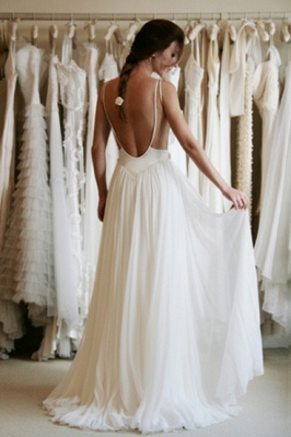 Cheap Wedding Dresses Beach Chiffon With Lace Straps Backless Floor Length Bridal Wedding Dresses_4