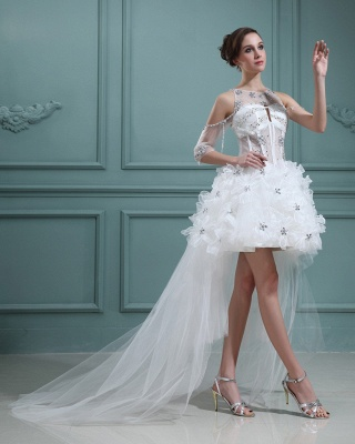 Design white wedding dresses short orgnazza tulle wedding gowns with train_4